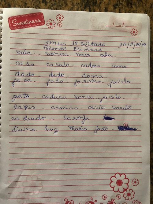 Primeiro ditado de Maria - Foto: Manuela Praxedes/arquivo pessoal